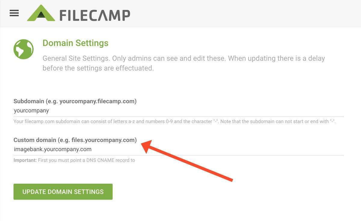 Domain Settings Filecamp